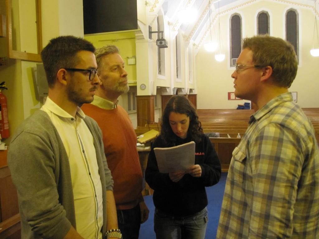 Priests, Director, Judas - in rehearsal